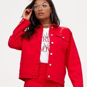 PLT Red Boyfriend Denim Jacket